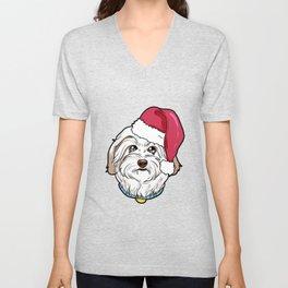 Havanese Dog Christmas Hat Present Unisex V-Neck