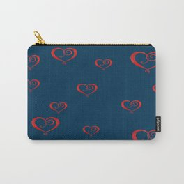 Polka Heart Party, Blue Carry-All Pouch
