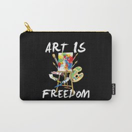 Art Is Freedom - Colorful Paint Tools Artist Painter Illustration Carry-All Pouch