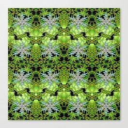 GREEN AURORA WINTER SNOWFLAKES PATTERN Canvas Print