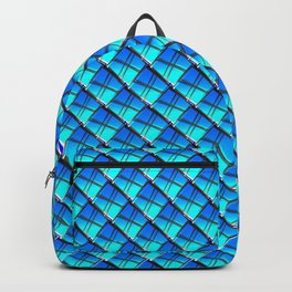 Cross square tile made of blue rhombuses with luminous gaps. Backpack