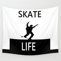 skate Wall Tapestries featuring SKATE LIFE by shannon's art space