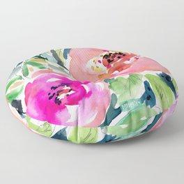 Peach Floral Floor Pillow