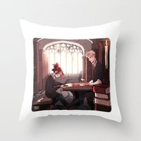 library Throw Pillows featuring Library by Galaxyspeaking