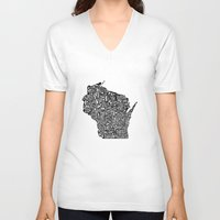 wisconsin V-neck T-shirts featuring Typographic Wisconsin by CAPow!