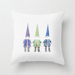 Three funny gnomes Throw Pillow