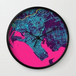 Karachi Neon City Map, Karachi Minimalist City Map Art Print Wall Clock