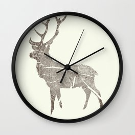 Wood Grain Stag Wall Clock