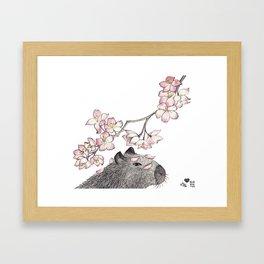 Capybara and petals Framed Art Print