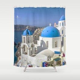 Santorini, Oia Village, Greece Shower Curtain