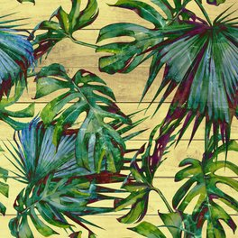 Window Curtain - Tropical Palm Leaves on Wood - Nature Magick