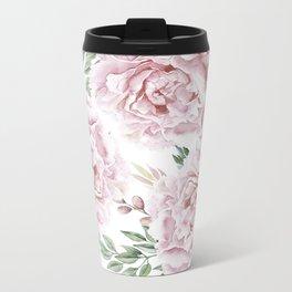 Coral Watercolor Roses Metal Travel Mug