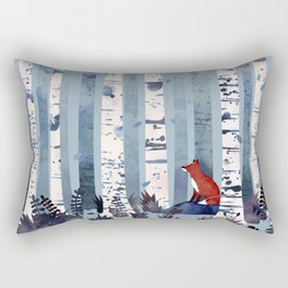 The Birches (in Blue) Rectangular Pillow