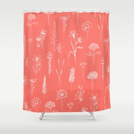 Patagonian wildflowers living Coral Shower Curtain