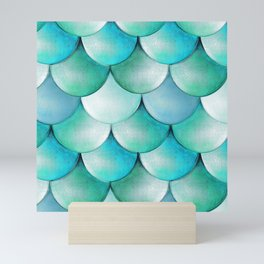 mermaid scales, turquoise shimmer Mini Art Print