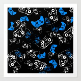 Video Game Blue on Black Art Print