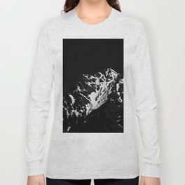 Minimalistic black and white snow covered mountain Long Sleeve T-shirt