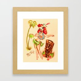 Redhead Hula Girl with Tiki Framed Art Print