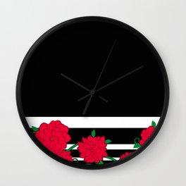 Floral Bloom - Red Flower Vines Wall Clock