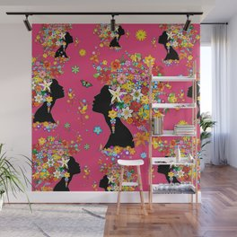 Hummingbird Kiss on Floral Girl  Wall Mural