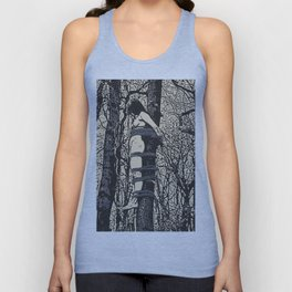 Dirty outdoors fetish games, ropes fun in deep forest, BDSM erotic artwork, tied slave girl Unisex Tank Top