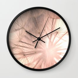 Pink Dandelion Macro Nature Photography Art and Apparel Wall Clock