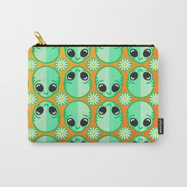 Happy Alien and Daisy Nineties Grunge Pattern Carry-All Pouch