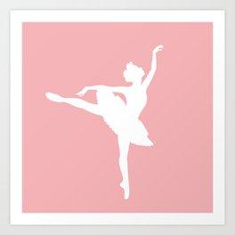 Pink and white Ballerina Kunstdrucke