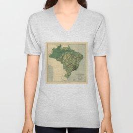Physical Map of Brazil (1886) Unisex V-Neck