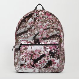 Elegant pink white nature snow cherry blossom floral Backpack
