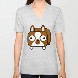 Boston Terrier Loaf - Red Brown Boston Dog Unisex V-Neck