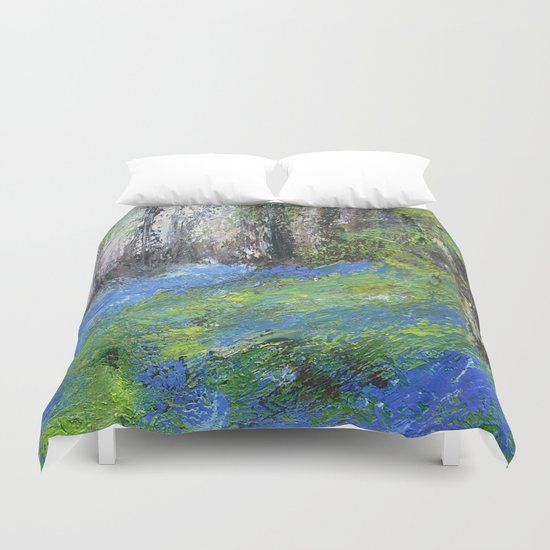 Bluebells English Woodland Landscape Acrylics On Canvas Duvet Cover