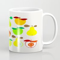 50s Mugs featuring Apples and Pears / Geometrical 50s pattern of apples and pears by In The Modern Era