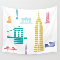 new york skyline Wall Tapestries featuring New York Skyline White by Christopher Dina