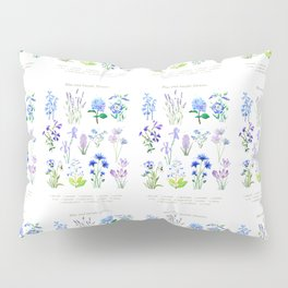 blue and purple flower collection watercolor Pillow Sham
