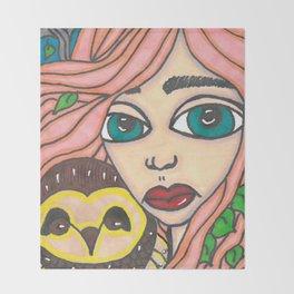 Girl with Owl Throw Blanket