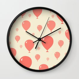 Red Balloons Wall Clock