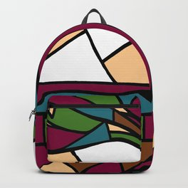 Stained Glass Tree Design - Burgundy Backpack