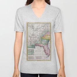 Vintage Map of Florida, Georgia and The Carolinas Unisex V-Neck