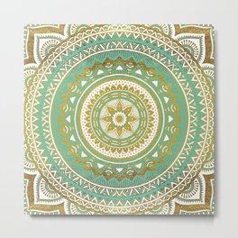 Teal and Gold Mandala Metal Print