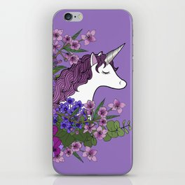 Unicorn in a Purple Garden iPhone Skin