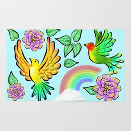 Birds Flowers and Rainbows Doodle Pattern Rug