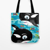 killer whale Tote Bags featuring Killer Whale & Fish by markmurphycreative