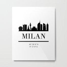 MILAN ITALY BLACK SILHOUETTE SKYLINE ART Metal Print