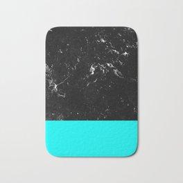 Aqua Blue Meets Black Marble #1 #decor #art #society6 Bath Mat