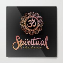 Spiritual Bad-Ass Mandala AUM Tropical Gold on black Metal Print