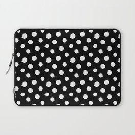 Minimal - white polka dots on black - Mix & Match with Simplicty of life Laptop Sleeve