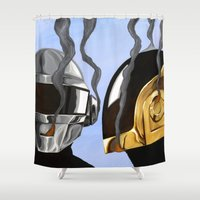 daft punk Shower Curtains featuring Daft Punk Deux by FAMOUS WHEN DEAD