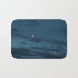 Morning Moonrise: Crescent in the Clouds Bath Mat
