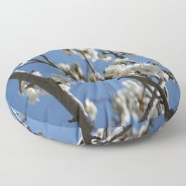 Cherry Blossom Branches Against Blue Sky Floor Pillow